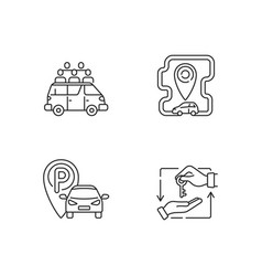 Car sharing and rental service linear icons set vector
