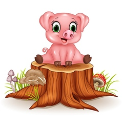 Cartoon adorable baby pig sitting on tree stump vector