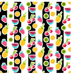 cartoon fruits seamless pattern vector image