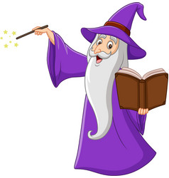 Cartoon old wizard holding a magic book vector