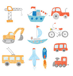 Children drawing kids painting transport cars vector