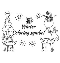 christmas coloring elements in vector image
