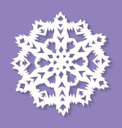 christmas paper snowflake on ultra violet vector image