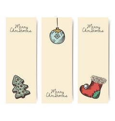 christmas vertical banners wintage drawings style vector image