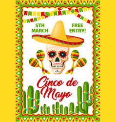Cinco de mayo mexican party invitation vector