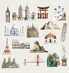 Collection architectural landmarks around vector