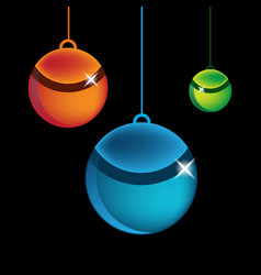 colorful isolated round christmas balls set black vector image