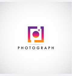 colorful photography logo design symbol vector image
