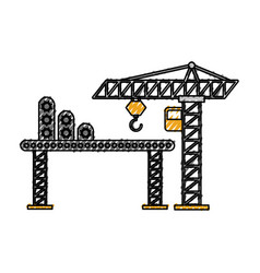 Construction tower crane cabin scaffold equipment vector