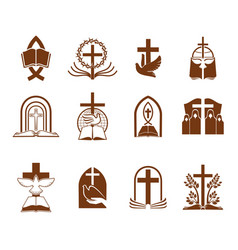 cristian religion cross bible and god dove icons vector image