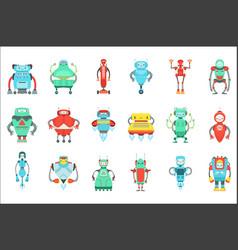 Different cute fantastic robots characters set vector