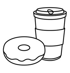 Donut with coffee cup and plastic container vector
