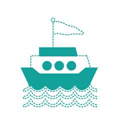 dotted shape ship transportation with flag design vector image