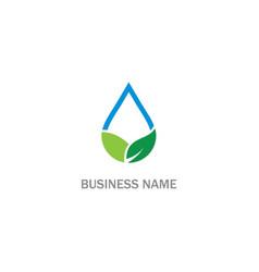 eco droplet green leaf water bio logo vector image