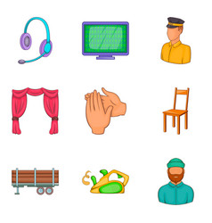 Engineering job icons set cartoon style vector