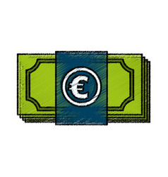 Euro bills money isolated icon vector