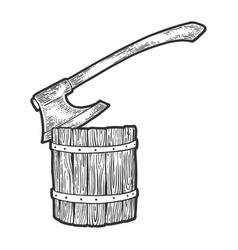 executioner ax stuck in log sketch vector image