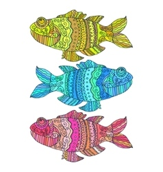 Fish painted by hand vector