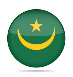 Flag of mauritania shiny round button vector