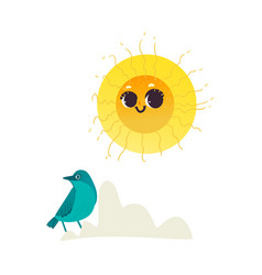 flat hand drawn sun icon vector image