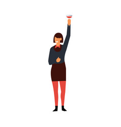 flat manager woman corporate party drinks vector image