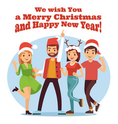 friends celebrate christmas merry christmas and vector image