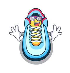 geek cartoon pair of casual sneakers vector image