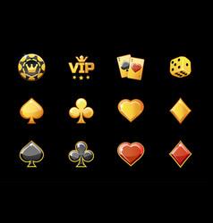 golden casino icons poker game symbols vector image