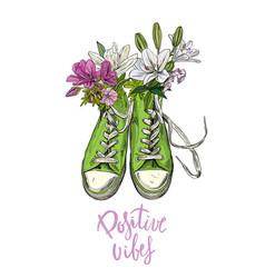 Green vintage sneakers with flowers words below vector