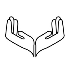 Hands human protection icon vector