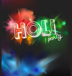 holi holiday party invitation layout color powder vector image