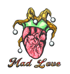 human heart with jester cap tattoo vector image