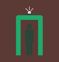 icon in flat design for airport metal detector vector image