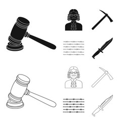 judge wooden hammer barbed wire pickaxe prison vector image