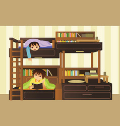 kids in the bedroom vector image