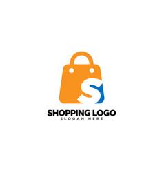 Letter s on shop logo design vector