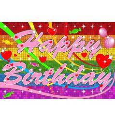 Lgbt Happy Birthday With Pink Text vector