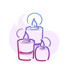 Line three candles spa for web social media design vector