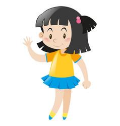 Little girl wearing yellow shirt and blue skirt vector
