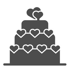 love cake solid icon valentine cake sign vector image