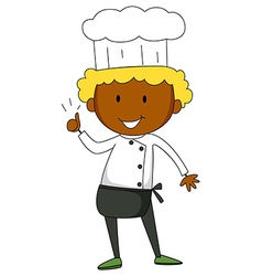 Male chef having thumb up vector