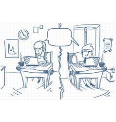 Man and woman chatting sitting at computers at vector
