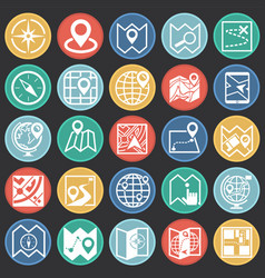 map and navigation icons set on color circles vector image