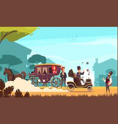 Old ground transportation cartoon vector