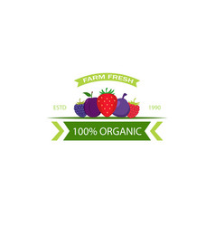 organic food emblem and badge vector image