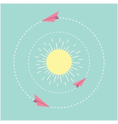 Origami paper plane and sun Dash line circle Flat vector