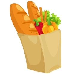 Paper bag with bread and paprika vector