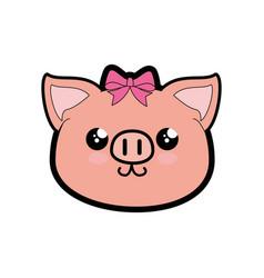 Pig kawaii cartoon vector