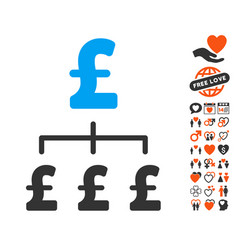 pound hierarchy icon with dating bonus vector image