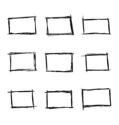 set hand drawn rectangle vector image